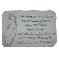 The Flowers We Place...(With Standing Angel) Weatherproof Cast Stone