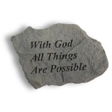 With God Things Are Possible, Decorative Weatherproof Cast Stone