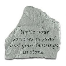 Write Your Sorrows... All Weatherproof Cast Stone Plaque