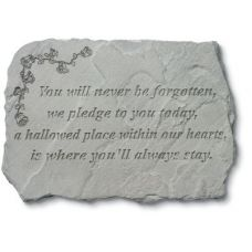 You Will Never Be Forgotten...  w/Roses All Weatherproof Cast Stone