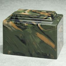Army Camouflage Marble Cremation Urn