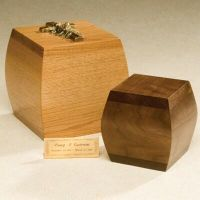 Bainbridge Box Cremation Urn - Oak or Walnut Finish - Bottom Opening