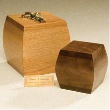 Bainbridge Box Cremation Urn - Oak or Walnut Finish - Bottom Opening