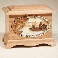 Bass Fishing: Oak Cremation Urn