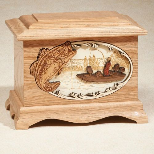 Bass Fishing: Oak Cremation Urn -  - 813343