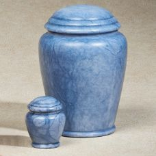 Blue Waters Alabaster Stone Cremation Urn