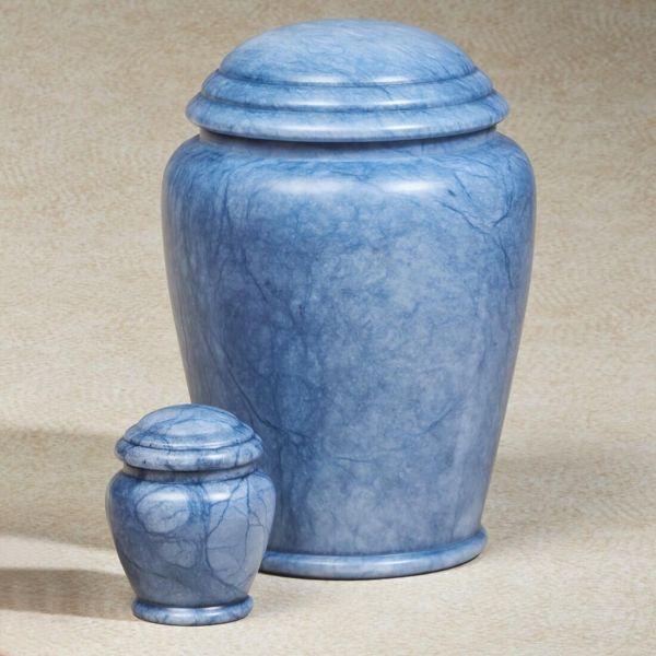 Blue Waters Alabaster Stone Cremation Urn