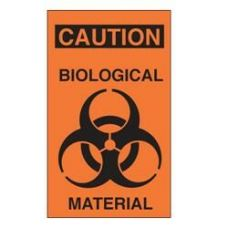 Caution Biological Material Adhesive Label