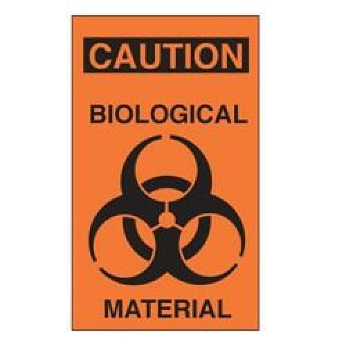 Caution Biological Material Adhesive Label -  - 508764