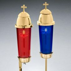 Cemetery Ground Stake Candle Holder Remembrance Light - Blue or Red
