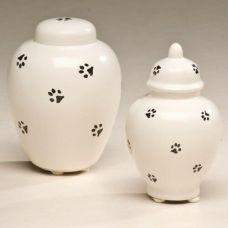 Ceramic Paw Prints Cremation Urn