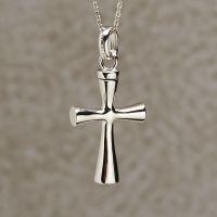 Contoured Cross Keepsake Cremation Pendant