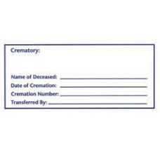 Cremation Container ID Label Adhesive Label