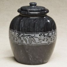 Dogwood Leaves Etched Black Marble Cremation Urn