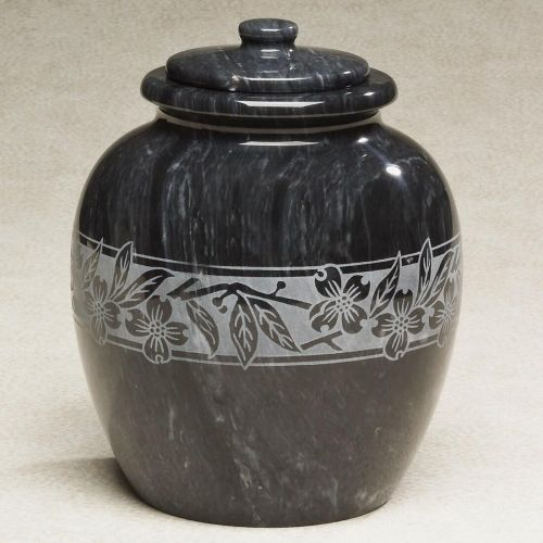 Dogwood Leaves Etched Black Marble Cremation Urn -  - 533211