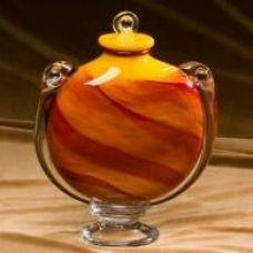 Fiery Sunset Glass Cremation Urn