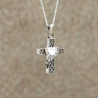 Heart Stone Cross Keepsake Cremation Pendant
