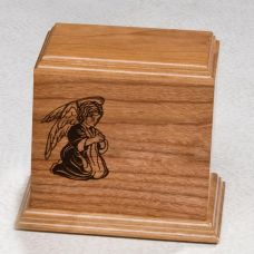 Kneeling Angel Cherry Wood Cremation Urn for Child