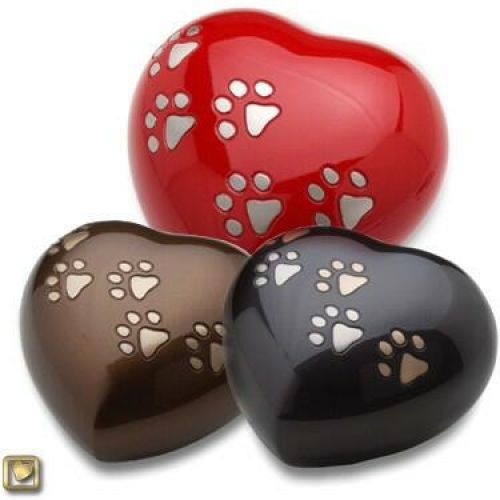 Love Heart Shaped Cremation Urn Paw Print for Pets -  - 880000