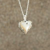 Mother of Pearl Heart Keepsake Cremation Pendant