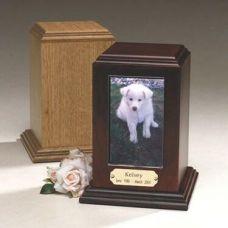 Photo Insert Tower: Oak Cremation Urn