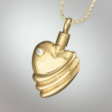 Ribbed Heart Diamond Keepsake Jewelry Pendant