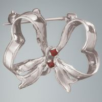 Ruby Ribbon Pin: Sterling Silver