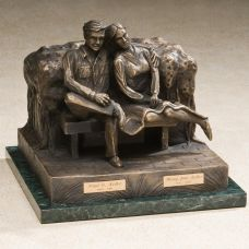 Seated Couple Bronze Cremation Urn for Husband & Wife
