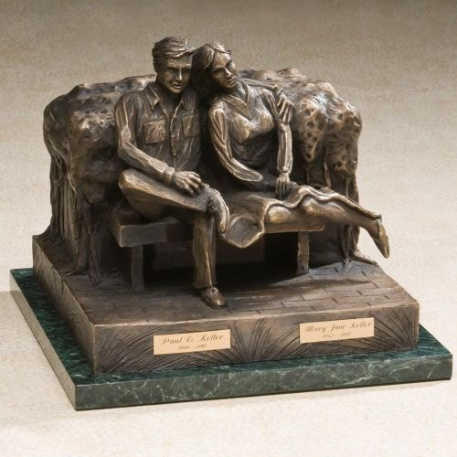 Seated Couple Bronze Cremation Urn for Husband & Wife -  - 558842