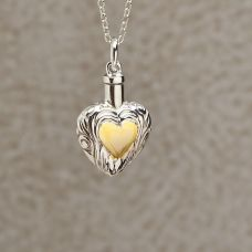 Silver and Gold Heart Keepsake Cremation Pendant