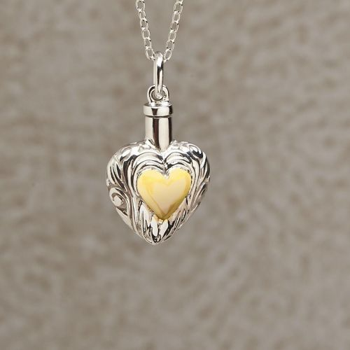 Silver and Gold Heart Keepsake Jewelry Pendant -  - 814107