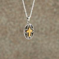 Sterling silver w/golden Cross Keepsake Cremation Pendant
