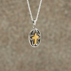 Sterling silver w/golden Cross Keepsake Cremation Pendant