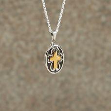 Sterling silver w/golden Cross Keepsake Jewelry Pendant