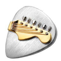 Cremation Jewelry: Two-tone Guitar Pick Necklace Pendant Holds Ashes