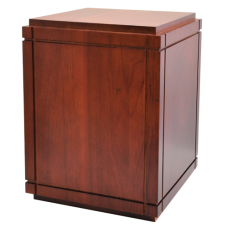 Cherry Finish Grooved Vertical Wood Urn