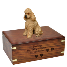 Apricot Poodle with Sport Cut Wood Urn for Pet Dog w/ Breed Figurine