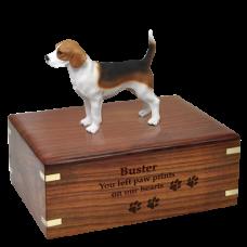 Beagle Figurine Wood Urn for Pet Dog w/ Breed Figurine