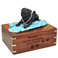 Black Pug on Blanket Wood Urn for Pet Dog w/ Breed Figurine