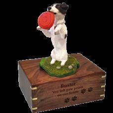Black + White Jack Russell Terrier Pet Figurine Urn