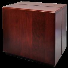 Cherry Finish Over-Sized Wood Urn- Cube