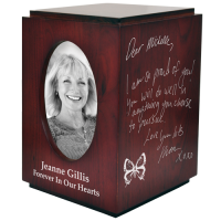 Cherry Finish Wood Urn with Oval Photo Frame- Your Handwriting Urn