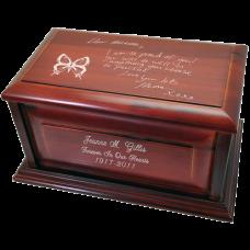 Cherry Wood Raised Panel Urn- Your Handwriting Urn