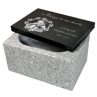 China White Granite Urn with Photo Laser Engraved Top