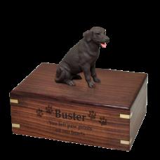 Chocolate Labrador Retriever Figurine Wood Urn Pet Dog Breed Figurine