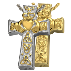 Cremation Jewelry: Claddagh Celtic Cross Pendant