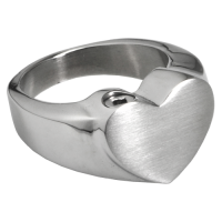 Cremation Jewelry: Premium Stainless Steel Bold Heart Ring