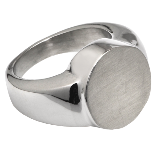 Cremation Jewelry: Premium Stainless Steel Round Ring -  - SR209B