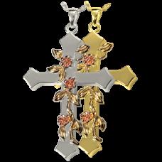 Cremation Jewelry: Rose Vine Cross Pendant