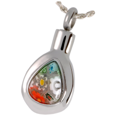 Cremation Jewelry Stainless Steel Art Glass Teardrop Pendant